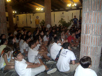 campers listen to staff presentations
